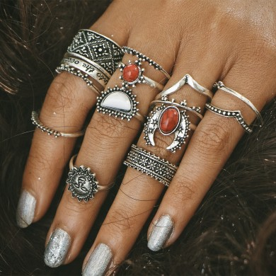 14 Pcs Casual Turquesa Flower Engraved Knuckle Ring Set