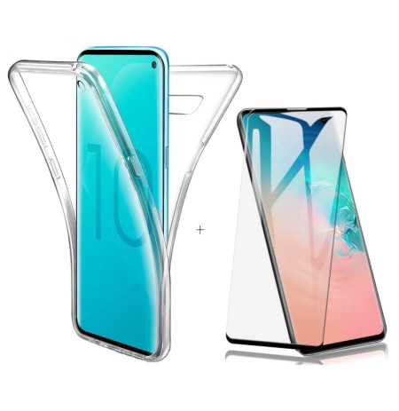 Full Body Clear Touch Screen Protective Case+3D Tempered Glass Screen Protector For Samsung Galaxy S10