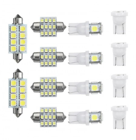 14pcs T10 LED Car Interior Dome Reading Lights Bulb Kit Roof License Plate Lamp