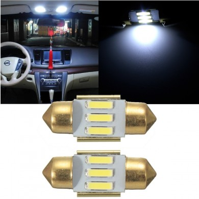 Pair 31MM White 3 SMD Number Plate Interior LED Reading Light Festoon Bulb Error Free