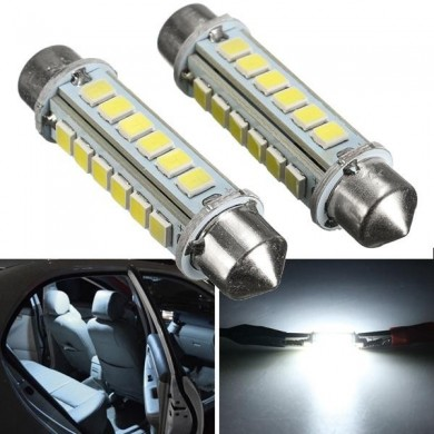 2pcs 44mm 2.6w 2835 24smd branco festoon LED interior dome luz placa de bulbo