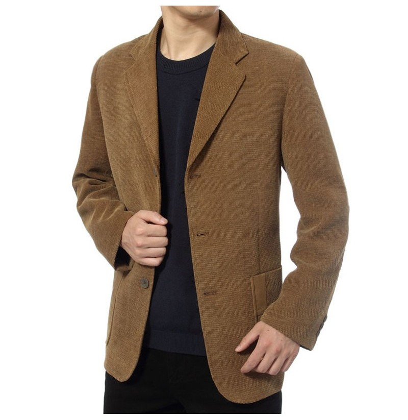 Mens Corduroy Casual Suit Blazers Solid Color Spring Coats (Color: Yellow, Size: M) фото