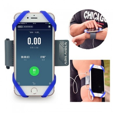 Flexible Soft Silicone Running Arm Bag Portable Sports Phone Case Arm Belt for under 6 inche Phone