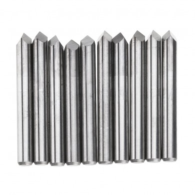 Drillpro 10pcs 3.175mm Shank 60 Degree 0.1/0.2/0.3mm Tip Tungsten Steel Engraving Bit CNC Tool