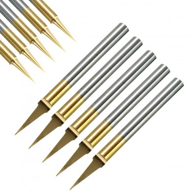5pcs 0.1mm 15 Degree Titanium Coated Carbide Flat Bottom PCB Engraving Bit CNC Router Tool