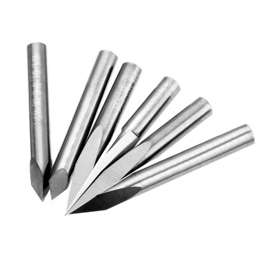 Drillpro 6pcs 6mm Shank 0.1mm Tip 10/15/20/30/45/60 Degree Engraving Bit CNC Tool