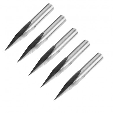 Drillpro 5pcs 6mm Shank 0.1mm Tip 15 Degree Engraving Bit CNC Tool