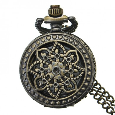 DEFFRUN Retro Blossom Carved Pattern Quartz Pocket Watch