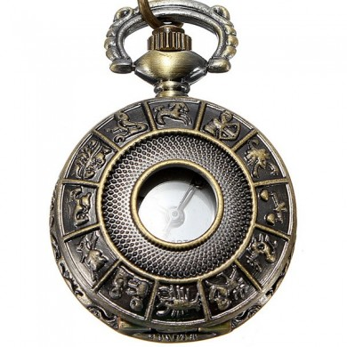 DEFFRUN Vintage Brass Animal Carved Pendant Pocket Watch