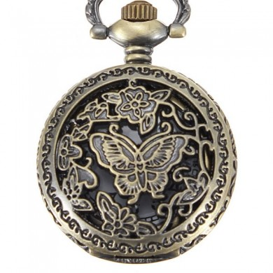 DEFFRUN Bronze Butterfly Engrave Pendant Pocket Watch