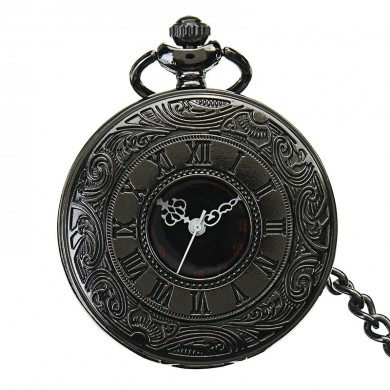 Vintage Hollow Roman Flower Alloy Black Men Women Pocket Watch