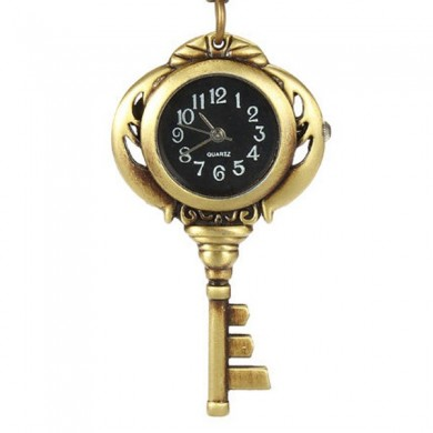 DEFFRUN Necklace Key Shape Quartz Chain Pocket Watch