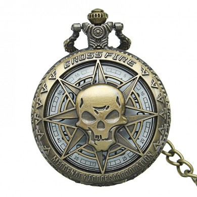 DEFFRUN Vintage Hollow Skull Bronze Chain Pocket Watch