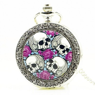 DEFFRUN Creative Rose Skull head Silver Quartz Pocket Watch
