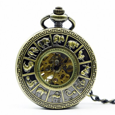 DEFFRUN Fashion Zodiac Roman Numerals Machanical Pocket Watch Creative Pendant Necklace