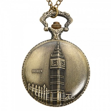 DEFFRUN Vintage Big Ben Pattern Bronze Quartz Pocket Watch