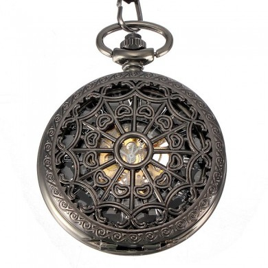 DEFFRUN Vintage Steampunk Skeleton Mechanical Pocket Watch