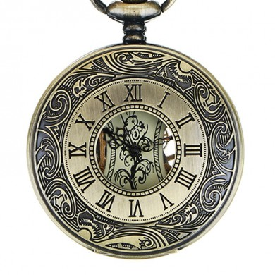 JIAJIA JX010 Pocket Watch Roman Hollow Self-winding Mechanical Watch