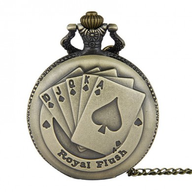 DEFFRUN Royal Flush Poker Pattern Quartz Pocket Watch