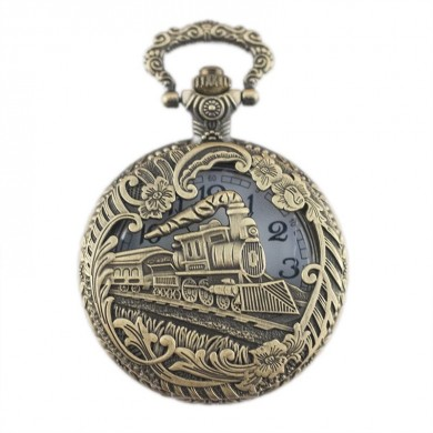 DEFFRUN Hollow Train Pattern Classic Quart Pocket Watch