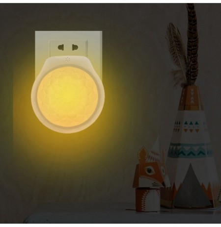 Smart Light Sensor LED Plug-in Wall Night Lámpara Flower Patrón Lighitng para Home Bedroom AC100-240V