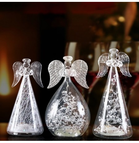 Romantic Angel Night Light Glass Luminescent Lámpara Habitación Dormitorio Boda Escritorio Decoración Regalo