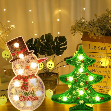 Creative Colorful Christmas Tree Snowman LED Night Light Mesa decorativa Lámpara Inicio