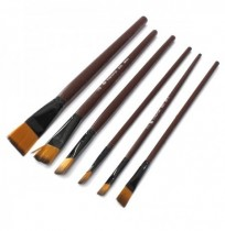 6PCS Brown Tip Nylon Paint Brushes For Art Artist Supplies