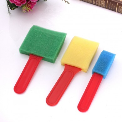 3PCS Foam Brush Sponge Flat Assorted Widths Applying Painting Tool