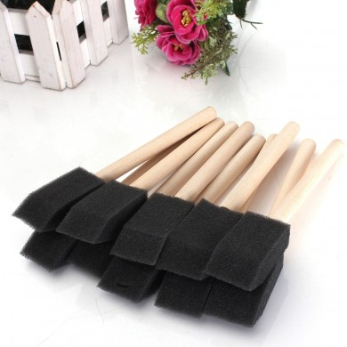 20 PCS Foam Sponge Wooden Handle Painting Drawing Brushes