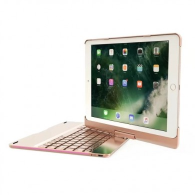 360º Rotating bluetooth 7 Colors Backlit Aluminum Keyboard For iPad 9.7 Inch 2018 / iPad 9.7 Inch 2017 / iPad Air / Air 2 / Pro