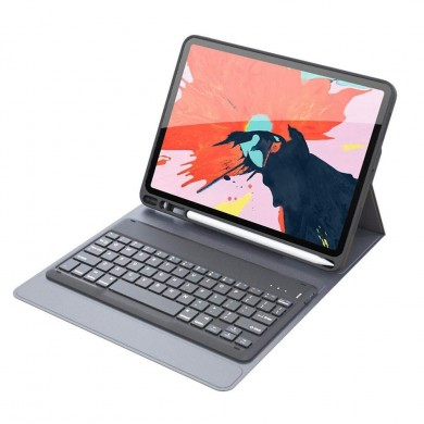 Bluetooth Wireless Auto Sleep / Wake Tastiera Flip Case con portamatite per iPad Pro 12,9 Pollici 2018