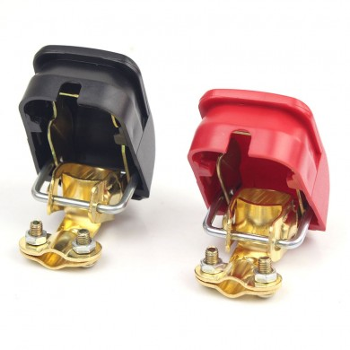 FOXSUR Red and Black Pure Copper Car Battery Terminal Block Clip