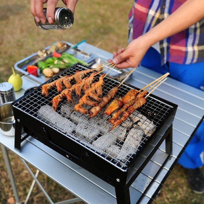 Outdoor Picnic BBQ Wood Charcoal Stove Grill Folding Portable Cooking Supply