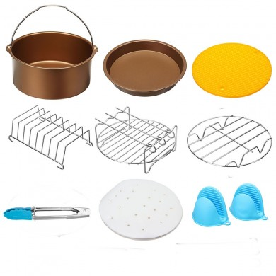 AU 9 Pcs 7inch Air Fryer Accessories Set Cake Pizza BBQ Roast Barbecue Baking Pan