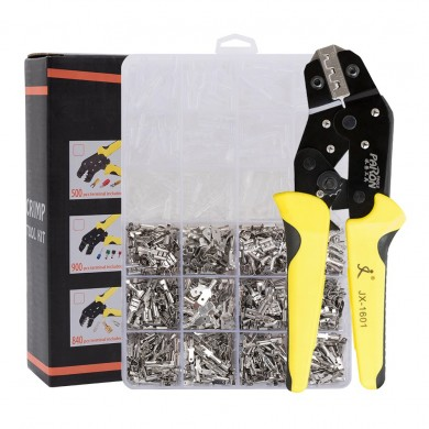 PARON JX-1601-08T AWG20-10 Crimper Plier Wire Engineering Ratchet Crimping Pliers Hand Tools with 840Pcs Terminals