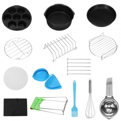1 Set 8 Inch Air Fryer Accessories Rack Cake Pizza Oven Barbecue Frying Pan Tray