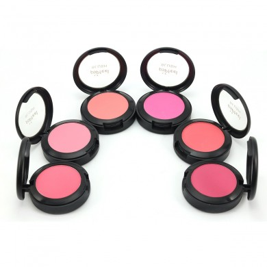 POPFEEL 3 in 1 Blusher Blush Powder Brush Mirror Face Makeup Comestic Kit 6 Colors
