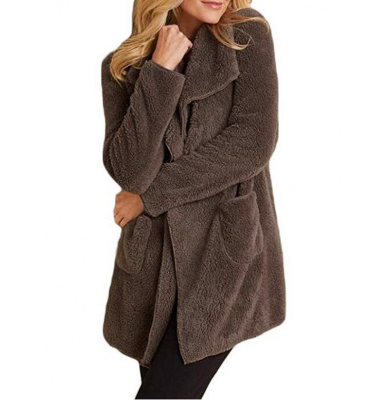 Women Casual Fleece Lapel Cardigans with Pockets (Color: Brown, Size: 10) фото