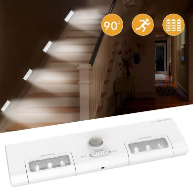 [Battery Operated] KCASA KC-LT1 LED Wireless PIR Motion Sensor Cabinet Cupboard Closet Light Lamp 6 LED 90° Light Angle for Home