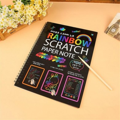 Fun DIY 26cm Big Size Doodling Scratch Painting Paper Blow Children Educational Toys Gift