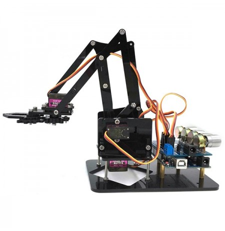 DIY 4DOF Robot Arm 4 Axis Acrylic Rotating Mechanical Robot Arm With Arduino UNO R3 4PCS Servo