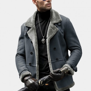 Mens Faux Shearling Coat Winter Thick Outerwear Suede Jacket