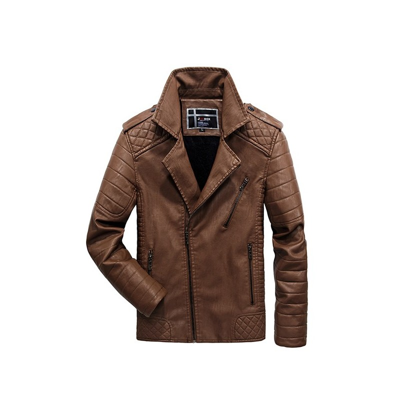 Winter Thickened Epaulets Diagonal Zipper Faux Leather Jacket for Men (Color: Brown, Size: 3XL) фото