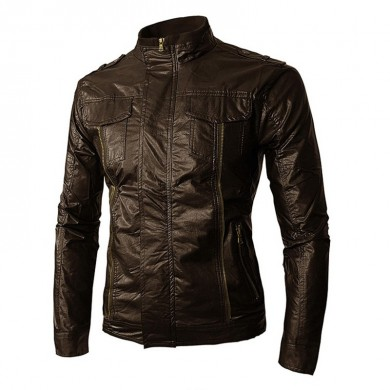 Chaqueta para hombre Moto PU Faux Leather Solid Cool Biker Coat