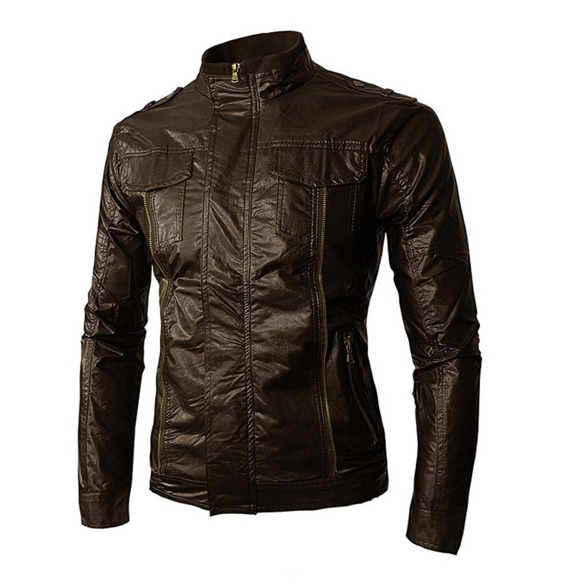 Mens Motorcycle Jacket PU Faux Leather Solid Cool Biker Coat (Color: Coffee, Size: L) фото