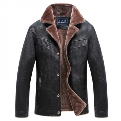 Mens Fleece Liner Winter Thick Warm Faux Leather Jacket