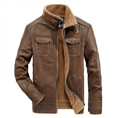 Mens PU Faux Leather Jacket Fleece Thick Warm Shearling Coat