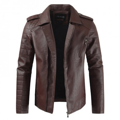 Mens Warm Fae Leather Fleet Collare Sottile con cerniera