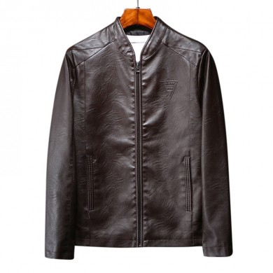 Mens Casual Stand Collar Leather Jacket